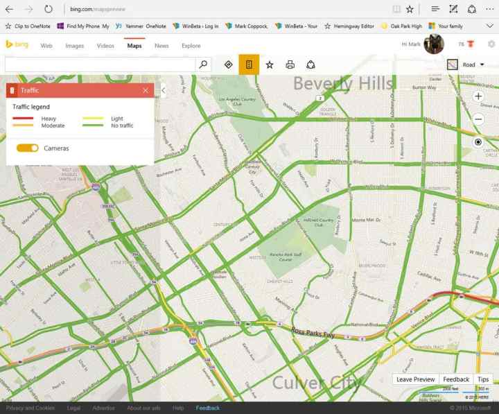 Select the Bing Maps traffic card and make sure cameras are selected.