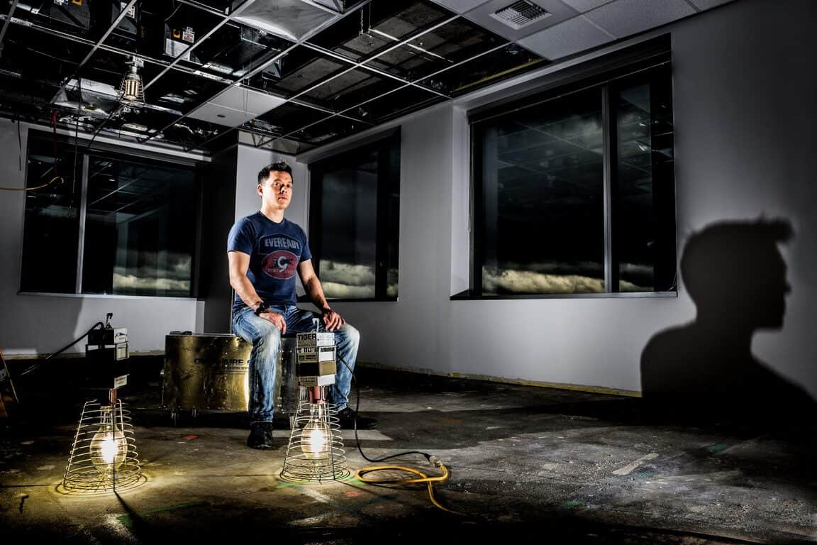 Lawrence Ripsher of Microsoft's Loop team photographed in their new work space, which is under construction at Bravern 2 in Bellevue on October 28, 2015. (Photography by Scott Eklund/Red Box Pictures)