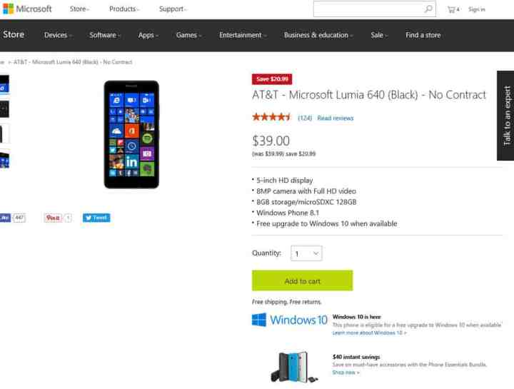 Yes, that's right: a no-contract Lumia 640 on AT&T for only $39!
