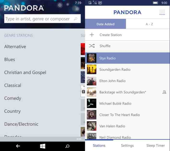 Pandora offers up much more information and options on startup in Windows 10 Mobile (on the right) than in Windows Phone.