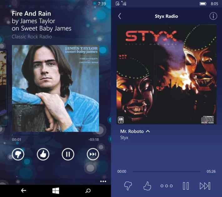 Pandora is a more attractive app in Windows 10 Mobile (right) than Windows Phone, with a cleaner interface.
