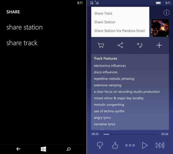 Pandora now includes much more information on a track in the sharing options screen in Windows 10 Mobile (right).