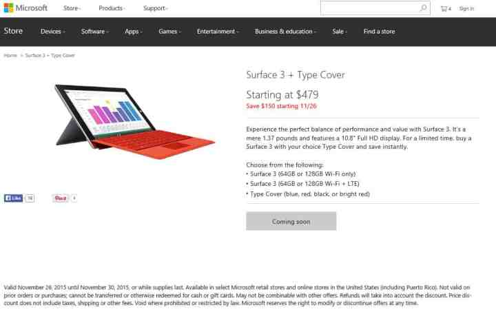 Yes, that's right, $150 off any new Surface 3 with Type Cover! What a deal!