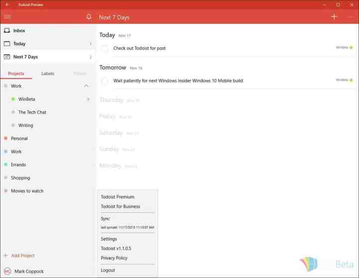 Todoist covers the basics for now with a straightforward and attractive UI.