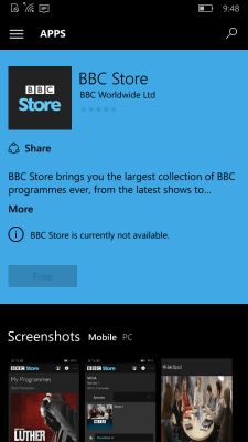 Windows 10 Mobile Store app listing.