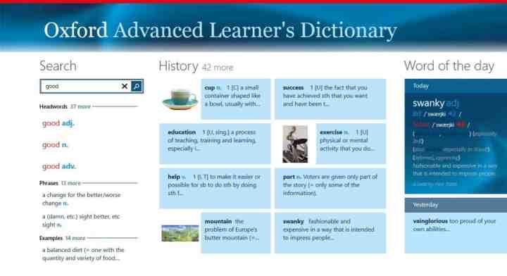 Oxford Advanced Learners Dictionary Screenshot