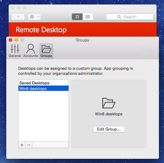Remote Desktop Preview for Mac Groups