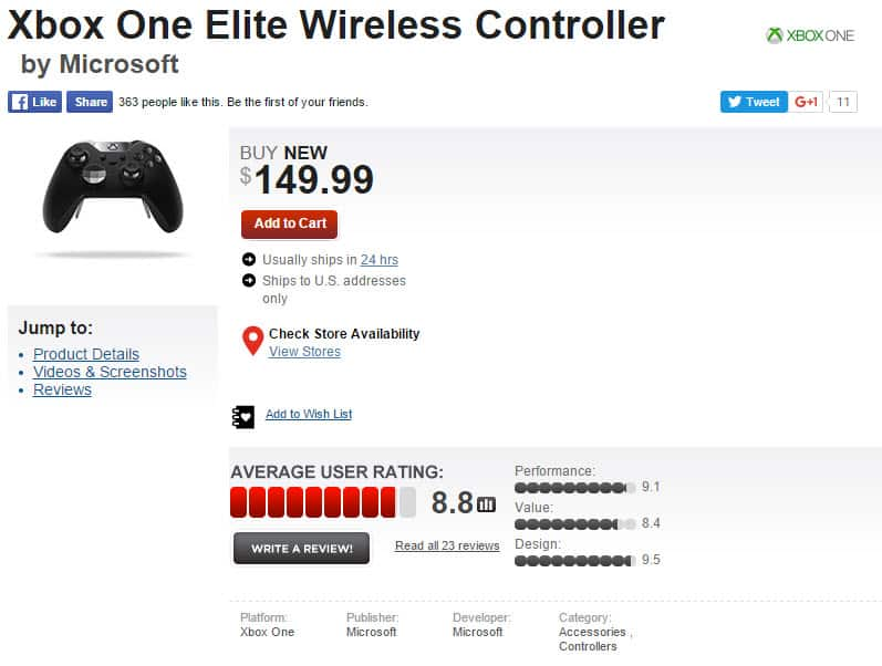 GameStop Xbox Elite Wireless Controller 1_13_2016