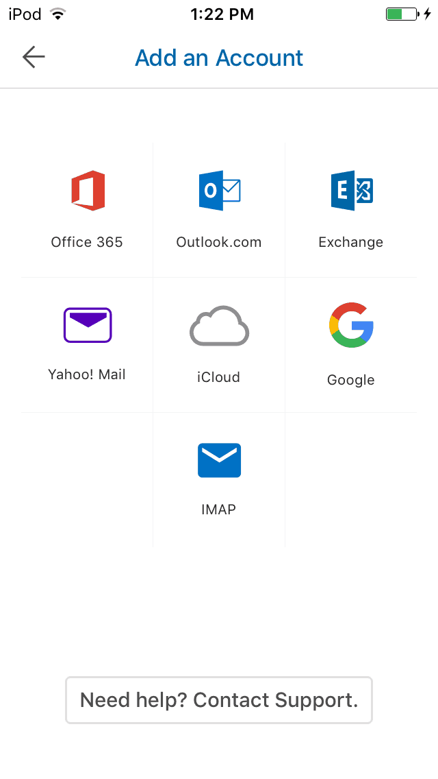 Accessing all types of email accounts through the Outlook app.