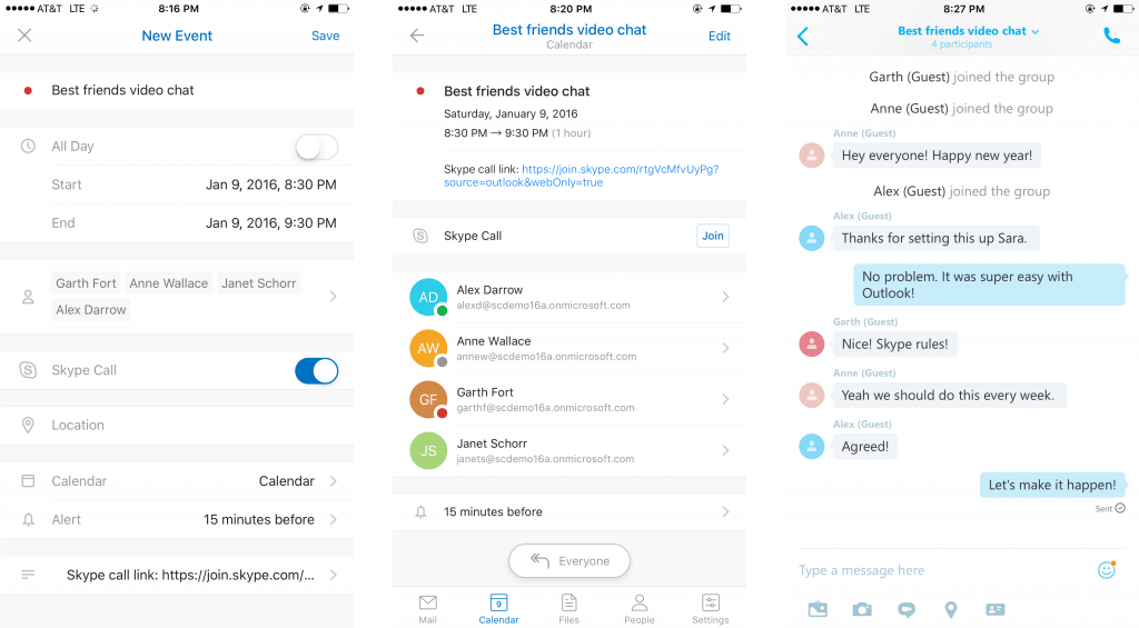 Skype and Outlook New Features iOS Android