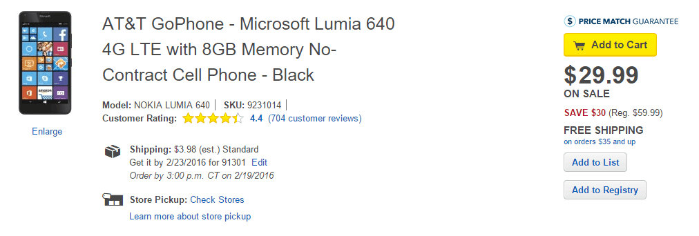 ATT GoPhone Lumia 640