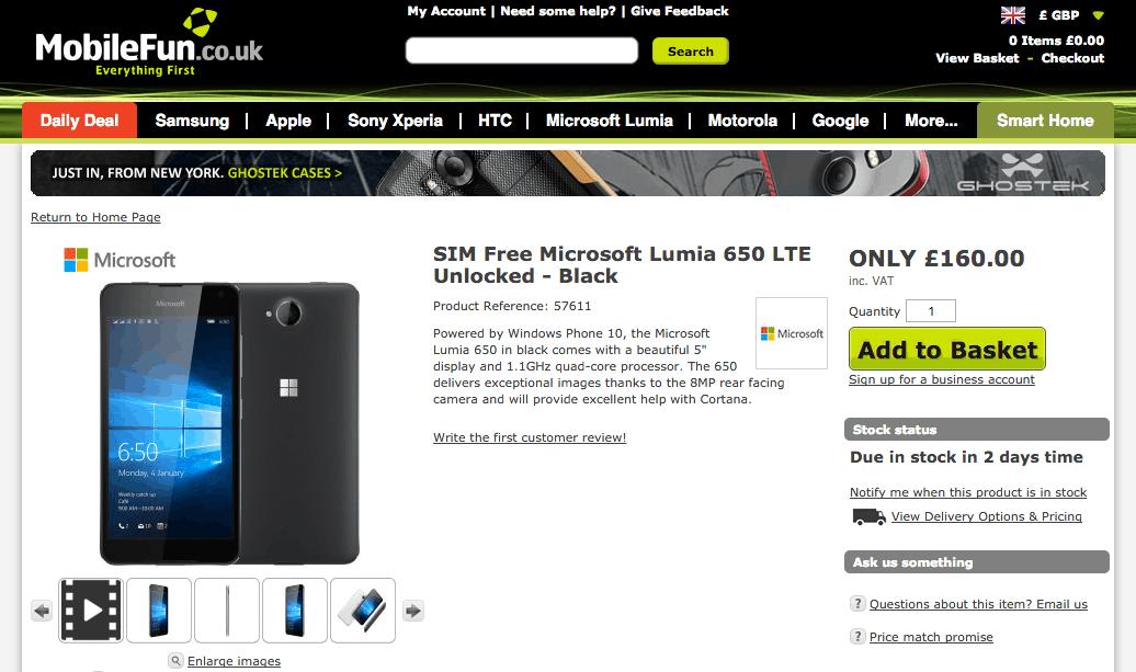 MobileFun UK Lumia 650
