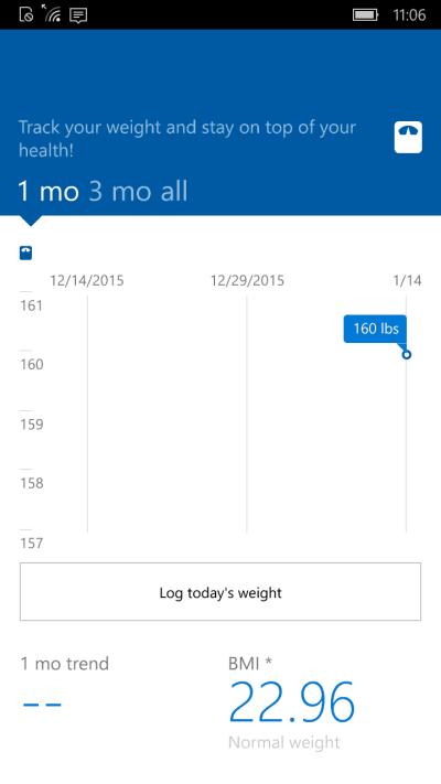 Microsoft Health App Weight Tracking