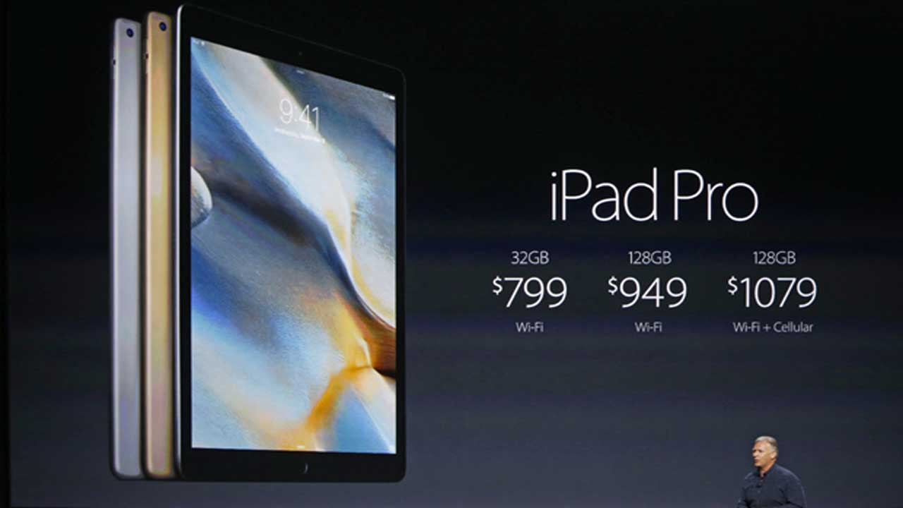 The 9.7-inch iPad Pro gets unveiled onstage.