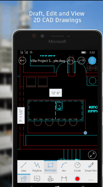 AutoCAD 360 Windows 10 Mobile app.