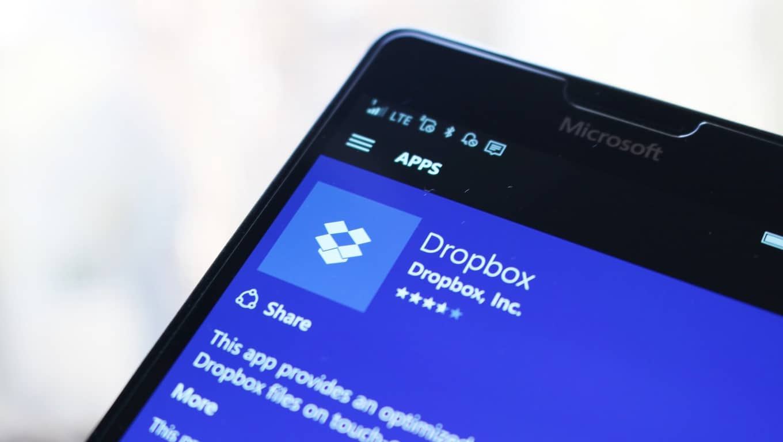 Dropbox W10M app listing