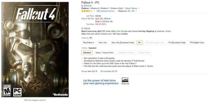 Amazon Fallout 4 PC Offer