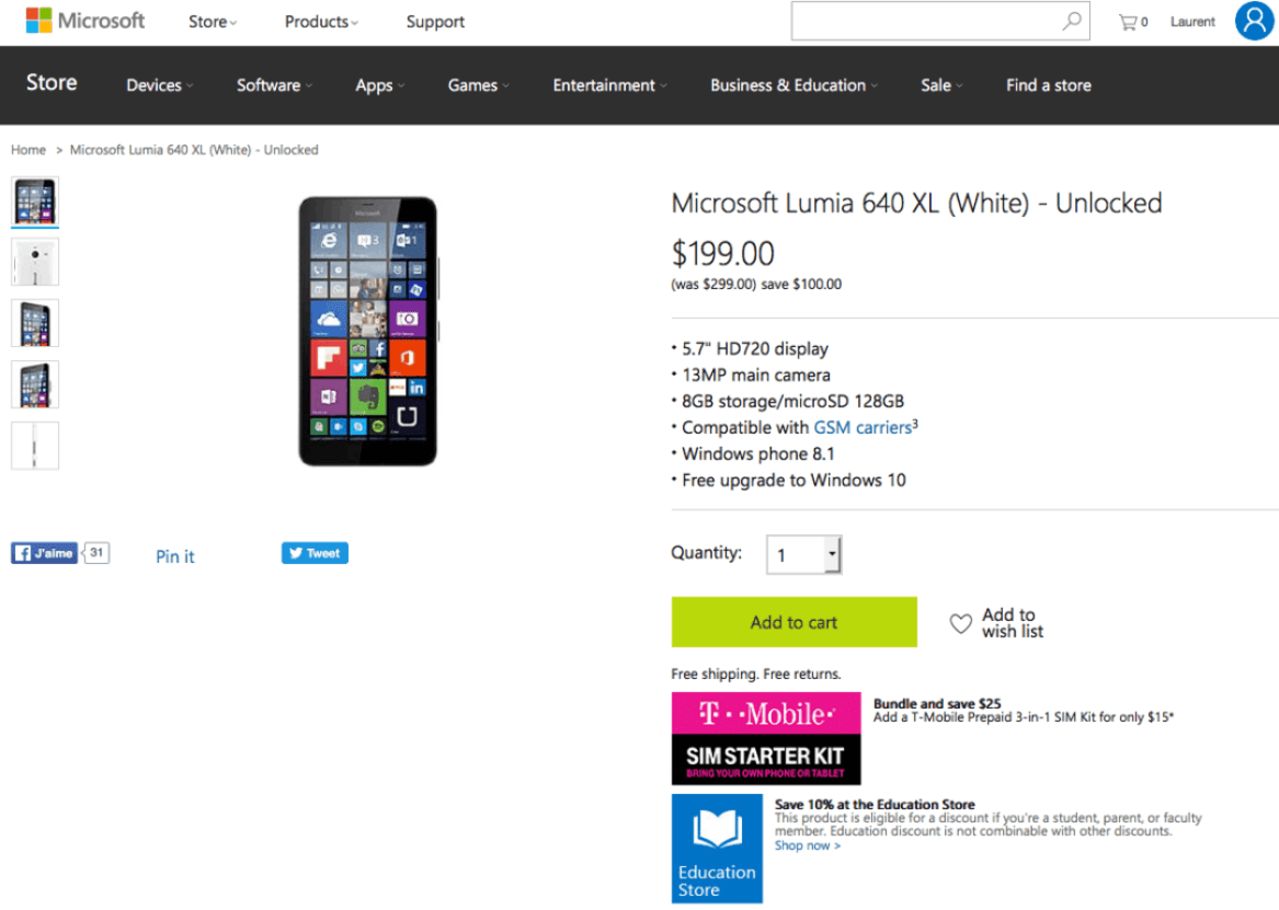 The Lumia 640XL on the US Microsoft Store.