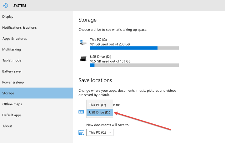 Windows 10 app storage settings.