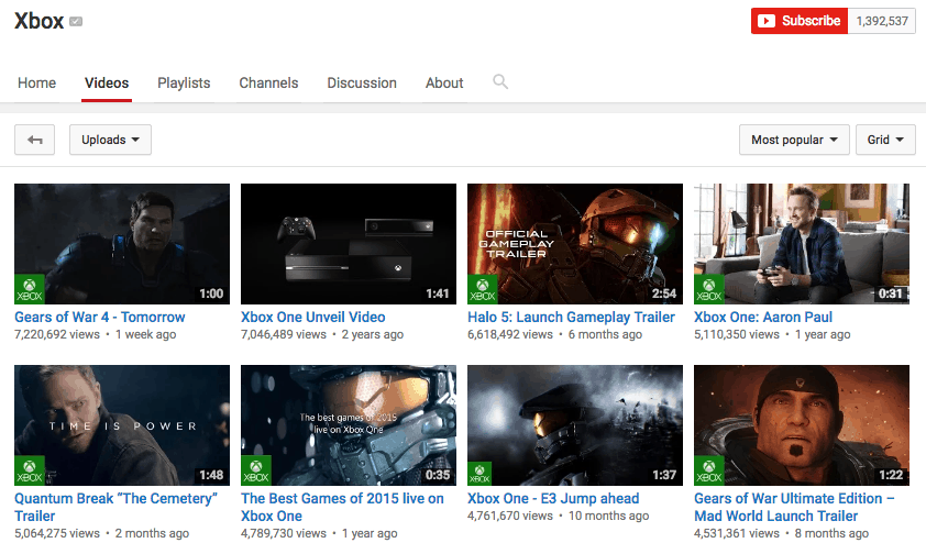 Xbox YouTube channel
