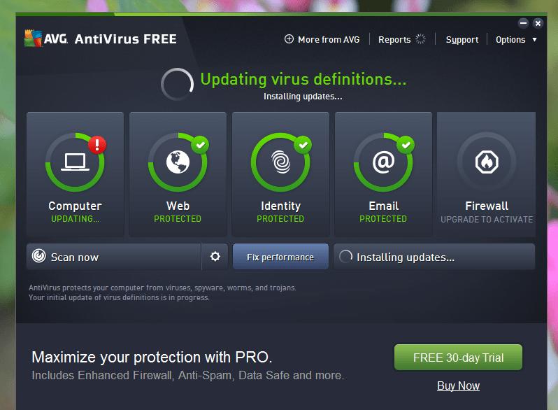 AVG on Windows 10