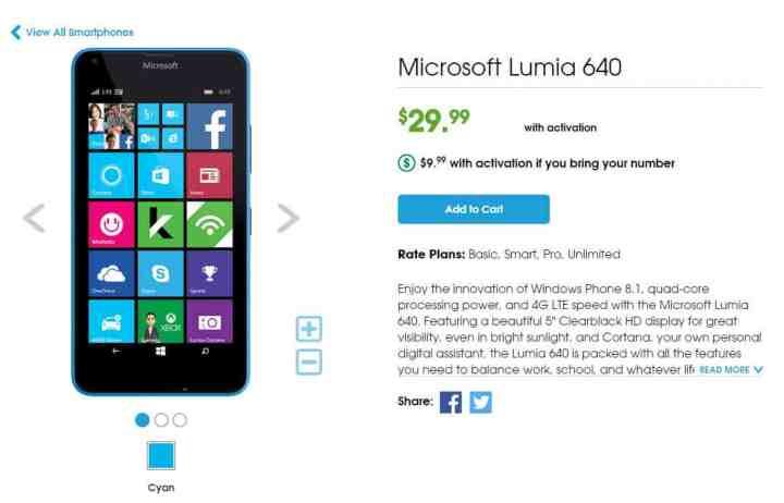 Cricket Lumia 640 Deal