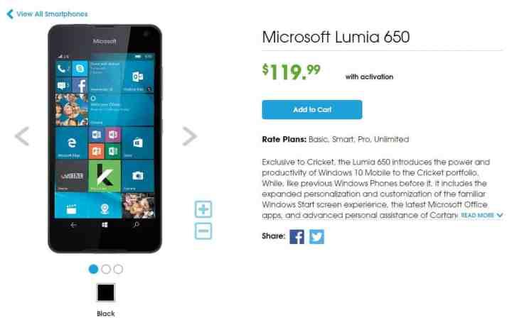 Cricket Lumia 650 Deal