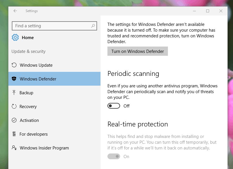 avg turning off windows defender