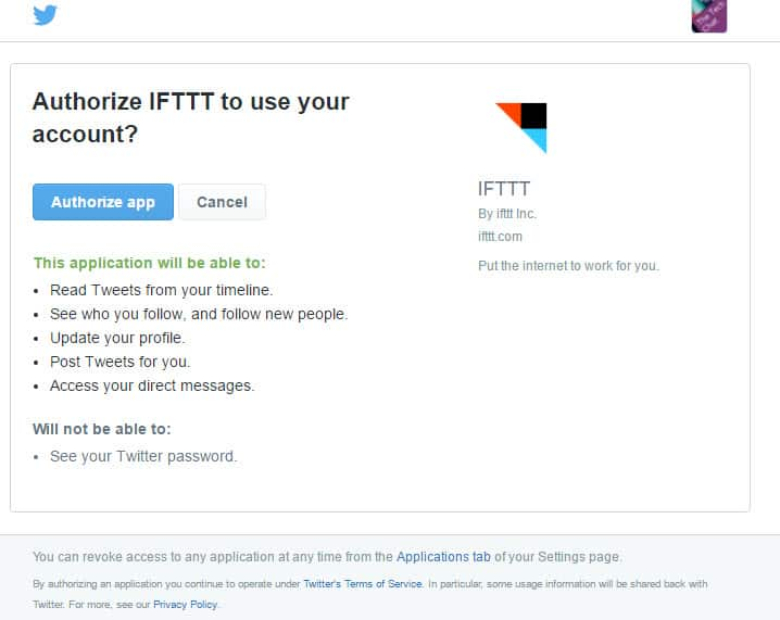IFTTT Authorizing Twitter