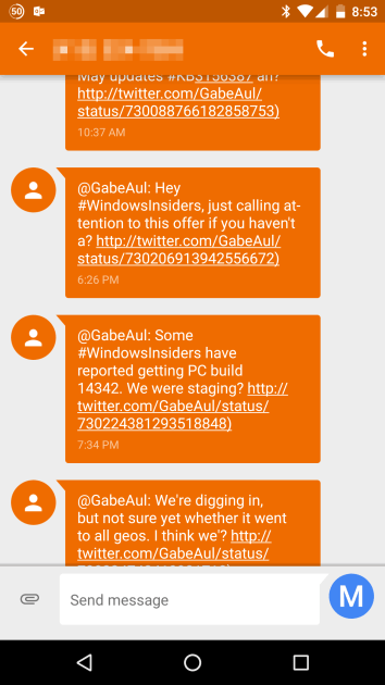 Here are some of the texts sent from IFTTT as Gabe was tweeting about the new build.