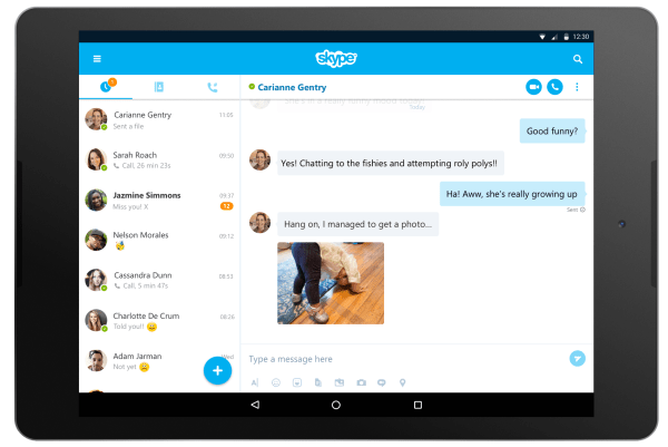 The redesigned tablet UI in Skype for Android 7.0.