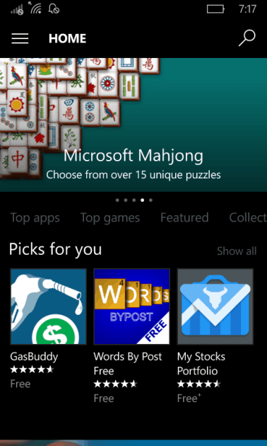 current Windows Store on mobile