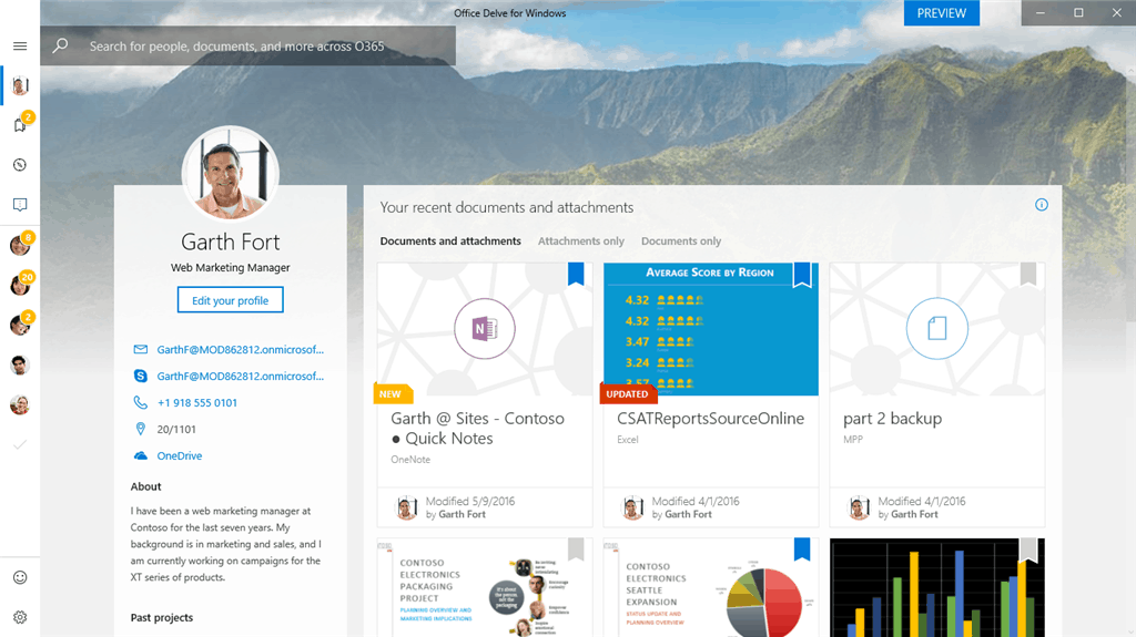 Office Delve for Windows 10 Preview.