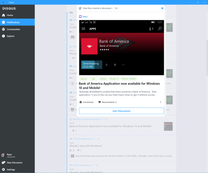 The Disqus Windows 10 app.