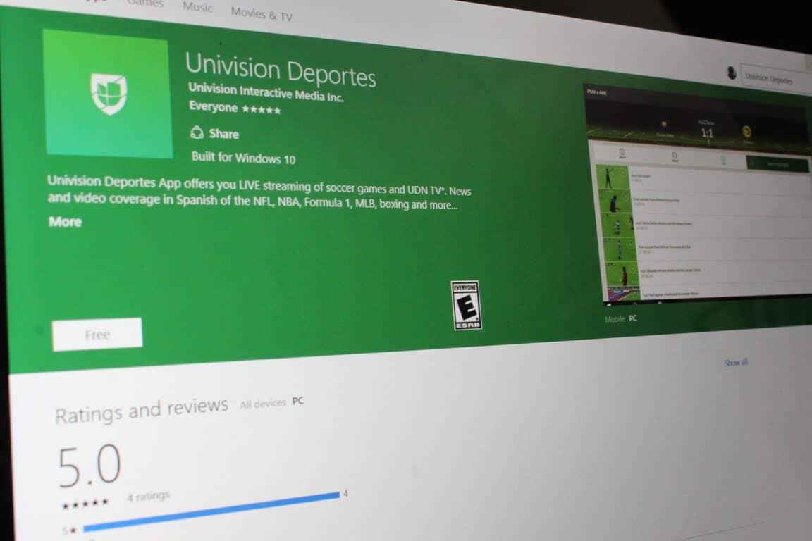 Watch sports en español with Univision Deportes Windows 10