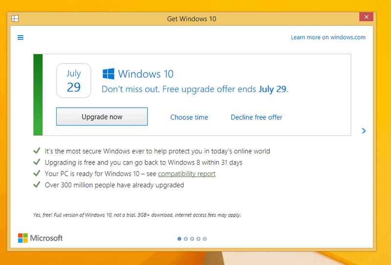 The revised Windows 10 upgraded prompt (credit: The Verge).