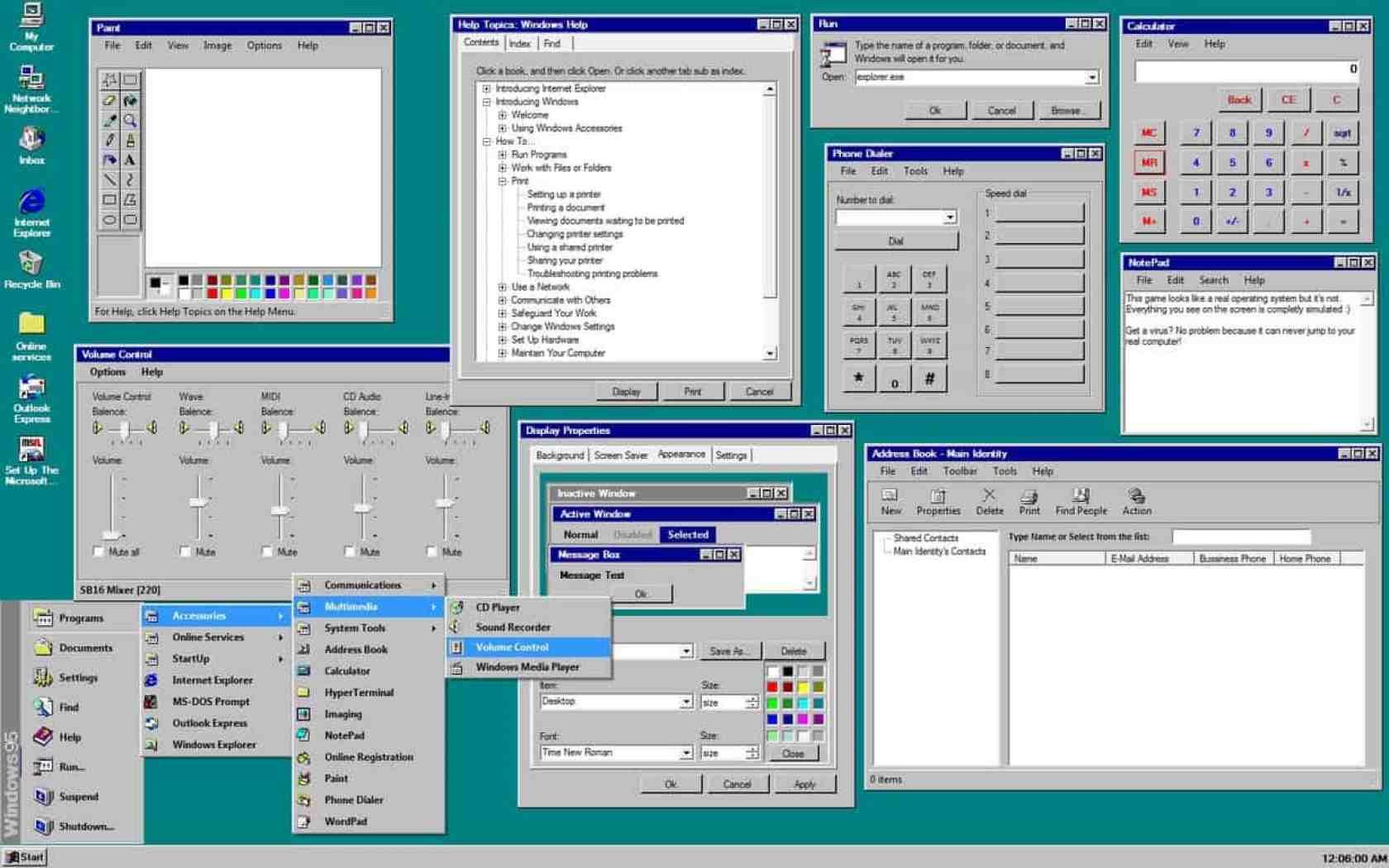 Open applications. Windows 95