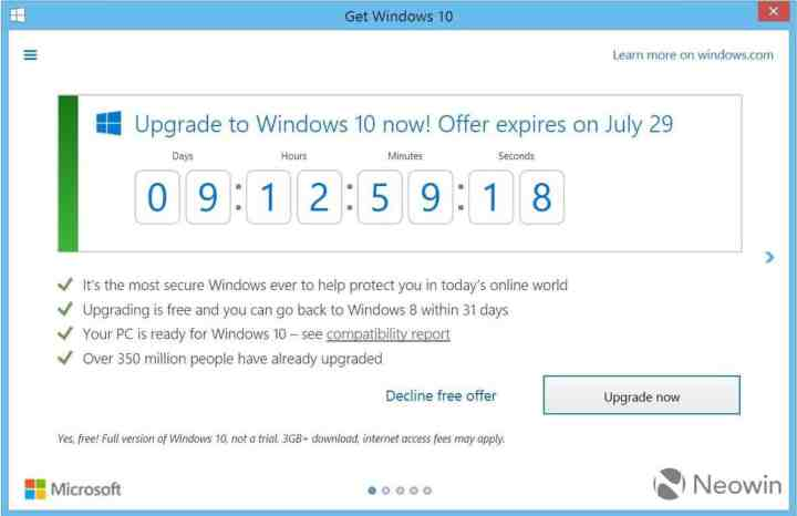 "The ""Get Windows 10"" program now features a countdown to July 29 (credit: Neowin)."