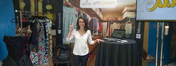 """Juliana Pirani showing off the eFitFashion concept at the Windows 10 """"Dream. Create. Do"""" Student Showcase on May 10 in New York."""