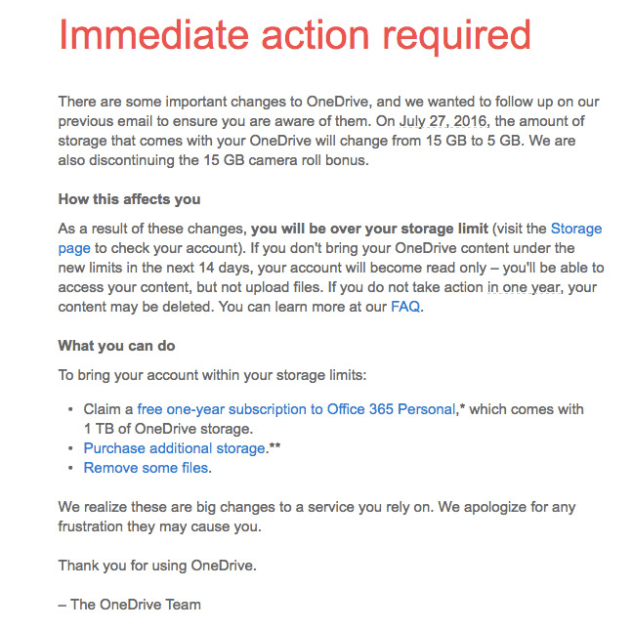You will get this email if you didn't opted in to keep your 15GB of free OneDrive storage.