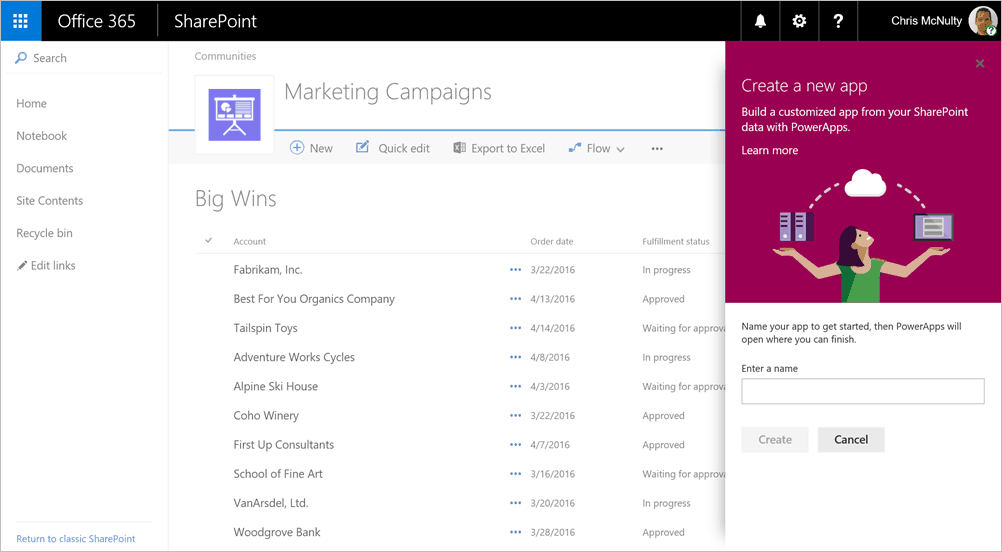 Building a PowerApp from a modern SharePoint list.