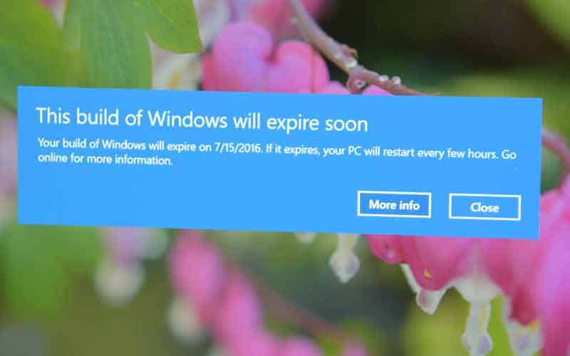 Windows 10 expiration notice