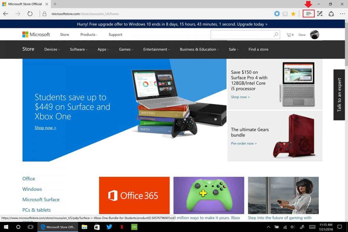 Windows 10, Anniversary Update, Edge, Hub