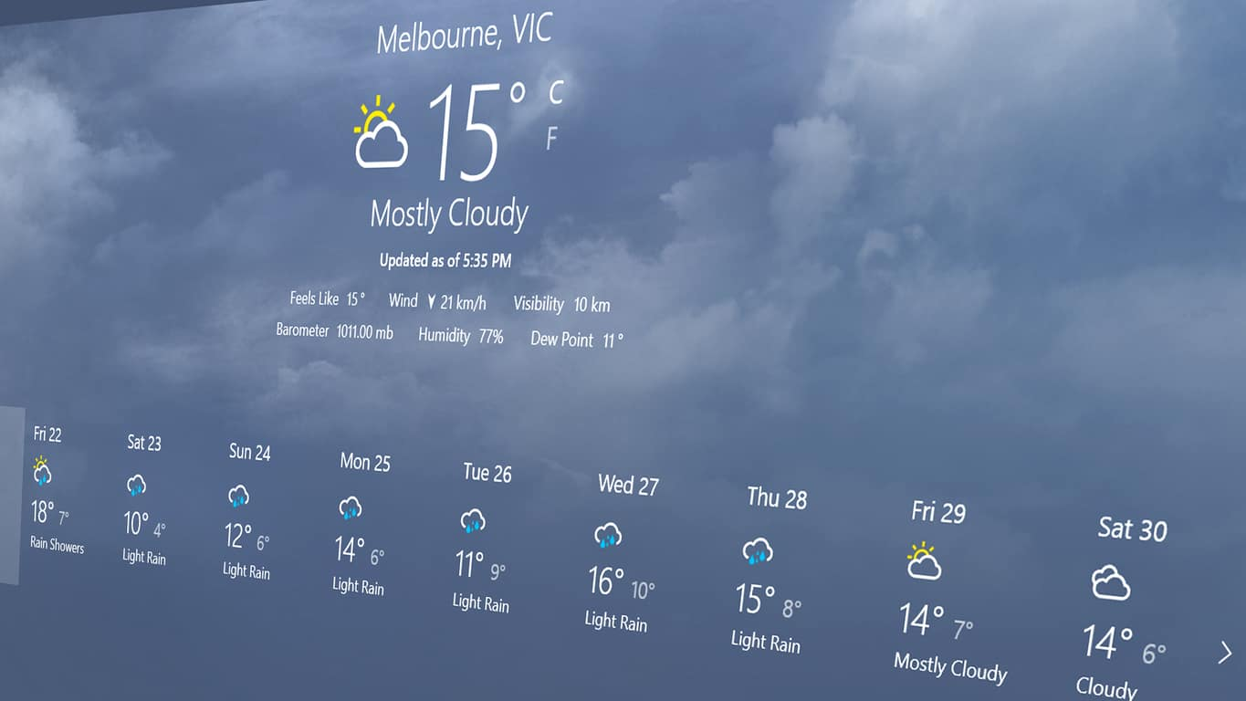 MSN Weather app on Windows 10