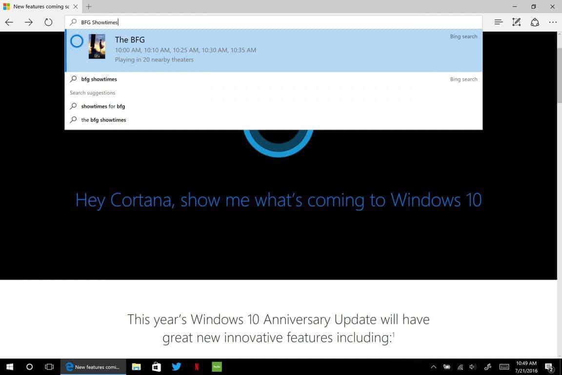 Windows 10, Anniversary Update, Microsoft, edge