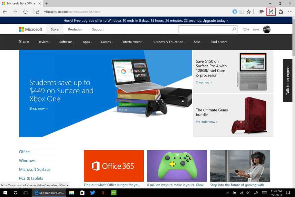 Windows 10, Anniversary Update, Web Note, Microsoft, Edge
