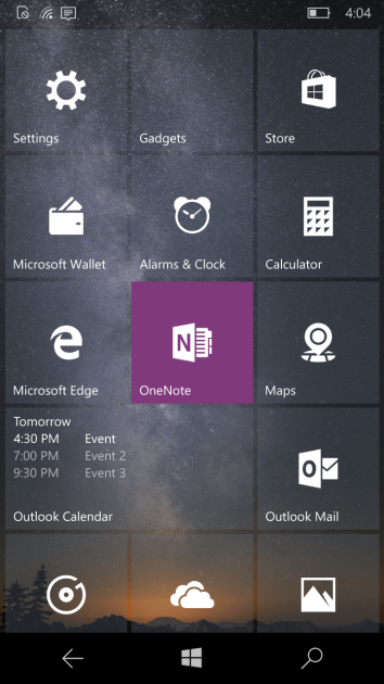 The Outlook Calendar Live Tile can now display up to three upcoming events.