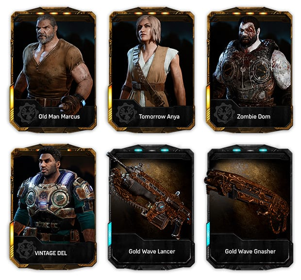 """The goodies included in Gears of War 4 """"Brothers to the End Elite Gear Pack""""."""