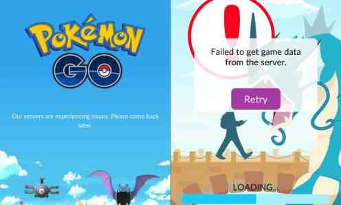 Server issue screens that Pokemon GO players see very often