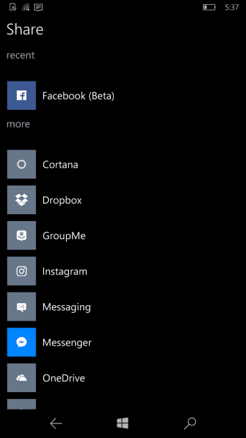 Facebook Beta is now integrated into the Windows 10 Mobile share menu.